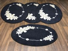 ROMANY GYPSY WASHABLE  SET OF TOURER SIZE 67X120CM MATS/RUGS BLACK-BEIGE NO SLIP